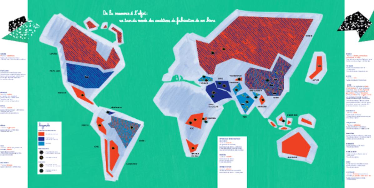 Infographie carte du monde de l'impact écologique et des conditions de fabrication des objets Lien vers: https://adopteplusquunobjet.fr/wp-content/uploads/2020/09/carte-reemploi-monde.pdf